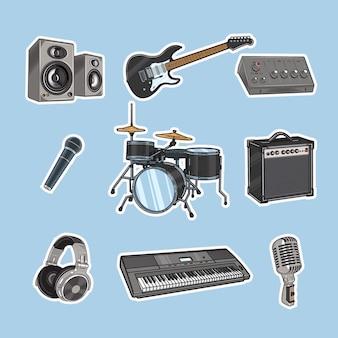 Illustrazione vettoriale di vari strumenti musicali
