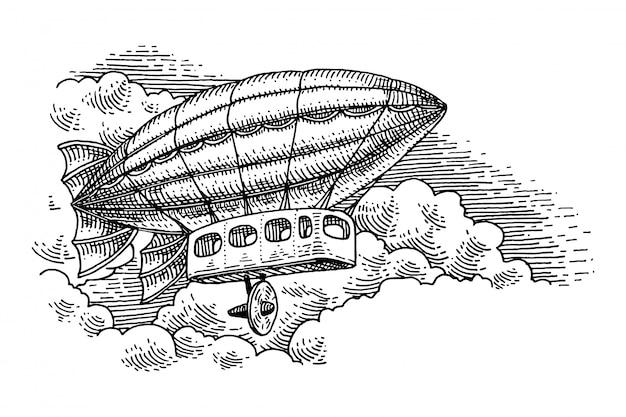 Illustrazione vettoriale di una nave aerea d'epoca