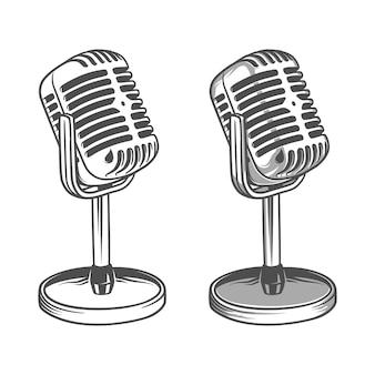 Illustrazione vettoriale di vecchio microfono retrò vintage. musica, voce, icona di registrazione. simbolo di registrazione
