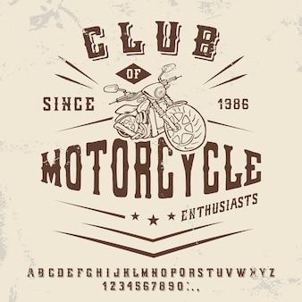 Illustrazione vettoriale di un design di stampa in stile vintage con una moto su uno sfondo di carta squallido