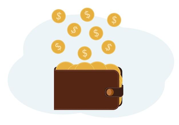 Illustrazione vettoriale di un portafoglio pieno di monete con un'immagine di un dollaro