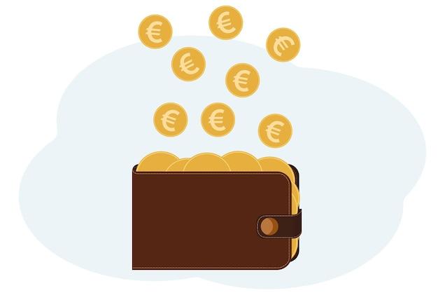 Illustrazione vettoriale di un portafoglio pieno di monete con l'immagine dell'euro