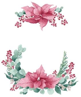 Illustrazione vettoriale, corona di natale dell'acquerello con eucalipto