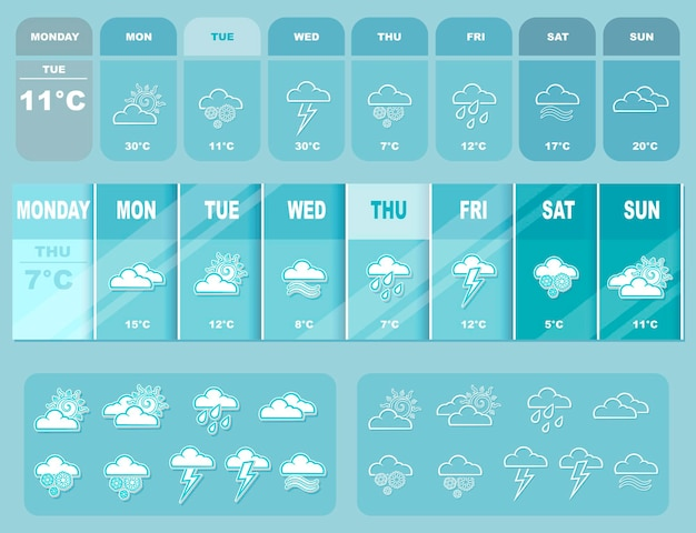 Un'illustrazione vettoriale delle previsioni meteo grandi blu con icone