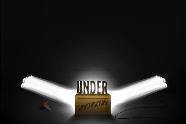 Illustrazione vettoriale dell'errore web 404: pagina non trovata/prossimamente sotto i riflettori. testo in piedi sulla scatola di legno in un fascio luminoso di faretti.