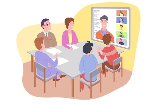 Illustrazione vettoriale di webinar, concetto di riunione online, lavoro da casa, design piatto. videoconferenza, telelavoro, distanziamento sociale, discussioni aziendali. personaggio che parla con i colleghi online