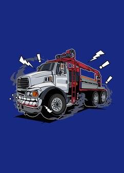 Disegno colorato di alta qualità del mostro del camion dell'illustrazione di vettore con il concetto divertente fatto dallo schizzo originale e digitalizza usando il disegno di corel