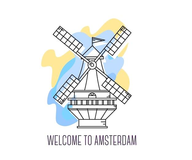 Illustrazione vettoriale di mulino a vento nei paesi bassi. punto di riferimento di amsterdam. simbolo dell'olanda. visite turistiche dell'europa.