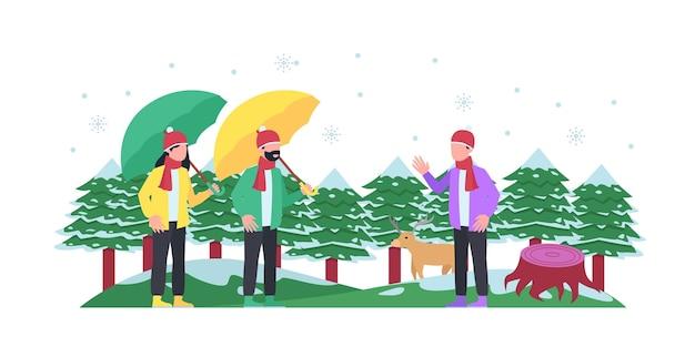 Illustrazione vettoriale del parco cittadino invernale con neve e due persone in piedi. panchina nel parco cittadino d'inverno, concetto di vacanze invernali in stile cartone animato piatto