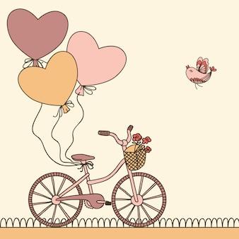 Illustrazione vettoriale con bicicletta, palloncini e posto per il testo. può essere usato per feste, biglietti di compleanno.
