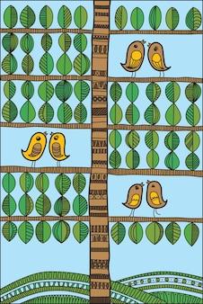 Illustrazione vettoriale con uccelli e albero