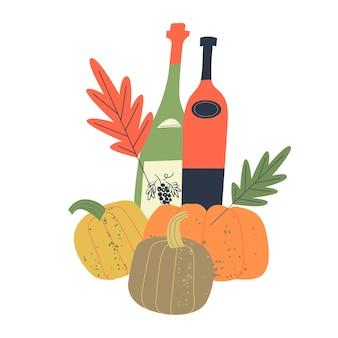 Illustrazione vettoriale con bottiglie di vino giovane zucche arancioni brillanti e foglie autunnali