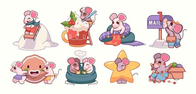 Illustrazione vettoriale con il simbolo dei topi dei cartoni animati degli adesivi dei topi con attributi natalizi