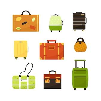 Illustrazione vettoriale con valigie colorate