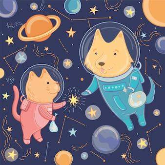 Illustrazione vettoriale con simpatico cane e gatto nello spazio. modello per la progettazione. illustrazione per la giornata della cosmonautica.