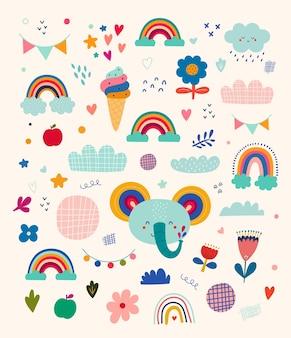 Illustrazione vettoriale con elefante carino. illustrazione del bambino della scuola materna