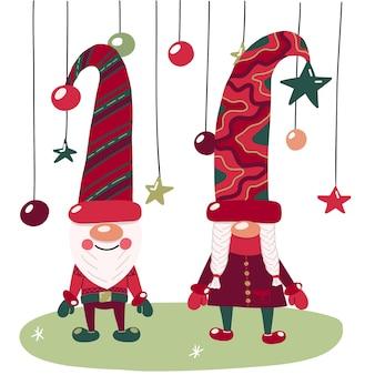 Illustrazione vettoriale con simpatici gnomi in maiuscolo, con decorazioni natalizie e fiocchi di neve.