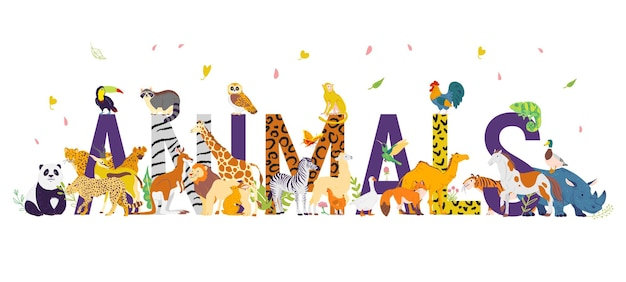 Illustrazione vettoriale con diversi animali selvatici del mondo, ungulati e uccelli. stile piatto disegnato a mano. personaggi divertenti, ottimi per striscioni, stampe, motivi, infografiche, illustrazioni di libri per bambini ecc