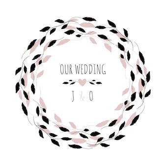Illustrazione vettoriale con cornice floreale il nostro matrimonio.