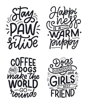 Illustrazione vettoriale con frasi divertenti. citazioni ispiratrici disegnate a mano sui cani.