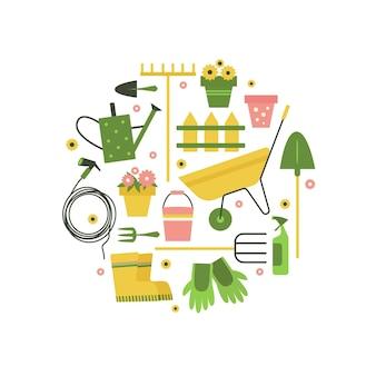 Illustrazione vettoriale con icone di attrezzi da giardino in cerchio. attrezzatura di lavoro isolata su priorità bassa bianca. elemento di design per la pubblicità.