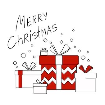 Illustrazione vettoriale con scatole regalo. natale e capodanno. regalo, saluto, sorpresa nel contorno di stile.