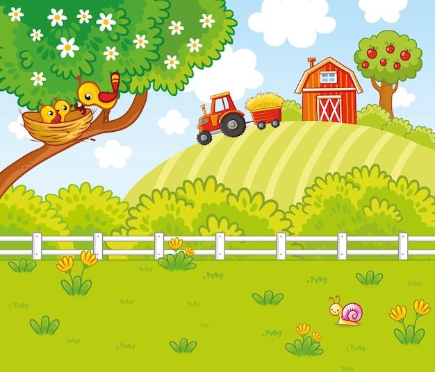Illustrazione vettoriale con linee verdi e alberi in stile cartone animato