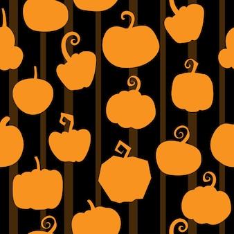 Illustrazione di vettore con il reticolo senza giunte della zucca di halloween su sfondo nero