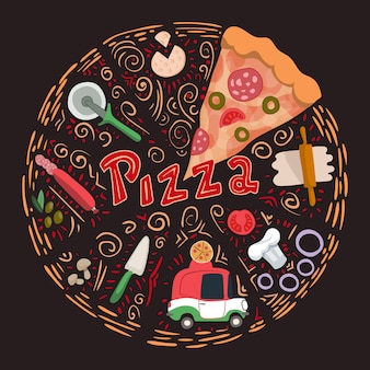 Illustrazione vettoriale con pizza disegnata a mano e ingrediente