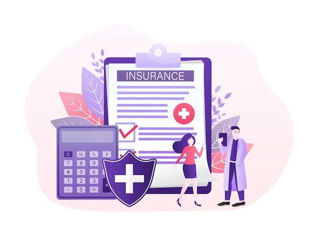 Illustrazione di vettore con il concetto di assicurazione sanitaria. grande lavagna per appunti con medico e donna.