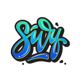 Illustrazione vettoriale con lettering surf.