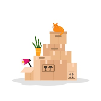 Illustrazione vettoriale con scatole in movimento di carta isolate su priorità bassa bianca.