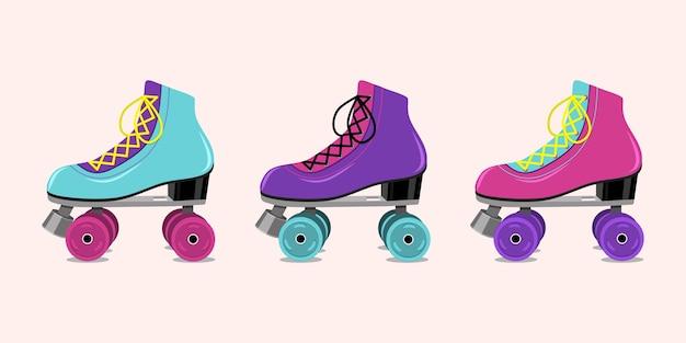 Illustrazione vettoriale con pattini a rotelle retrò