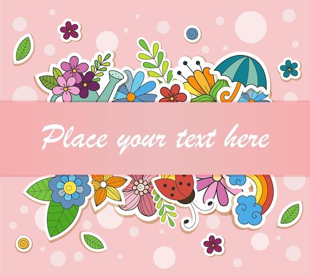 Illustrazione vettoriale con elementi di scarabocchi primaverili in stile cartone animato con posto per il testo vendita di primavera
