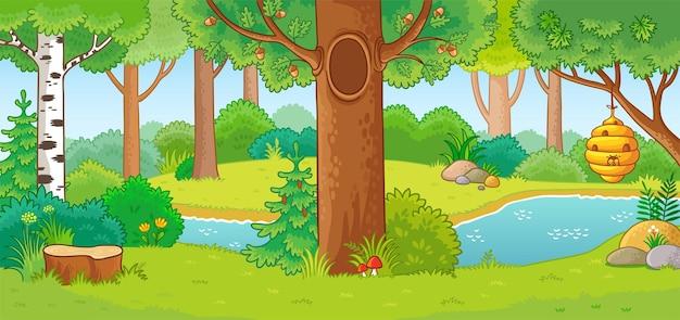 Illustrazione vettoriale con foresta estiva e piccolo fiume