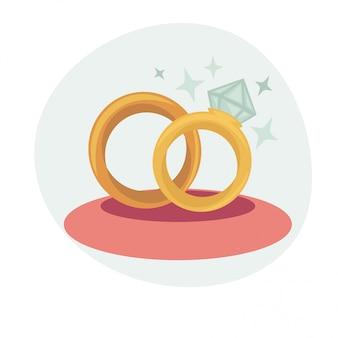 Illustrazione vettoriale con anelli di nozze