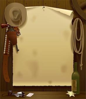 Illustrazione vettoriale con un poster di staffetta del selvaggio west nell'ambiente di accessori da cowboy