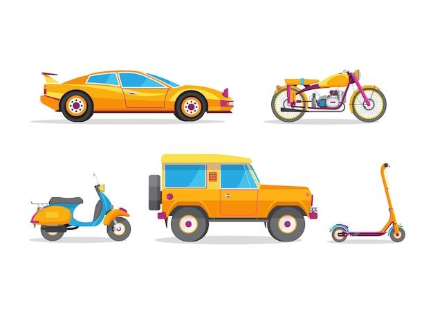 Illustrazione vettoriale con veicoli gialli isolati su sfondo bianco.
