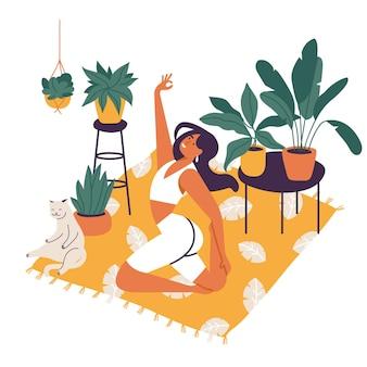 Illustrazione vettoriale con giovane donna che pratica yoga a casa accogliente con piante, fiori e gatto.