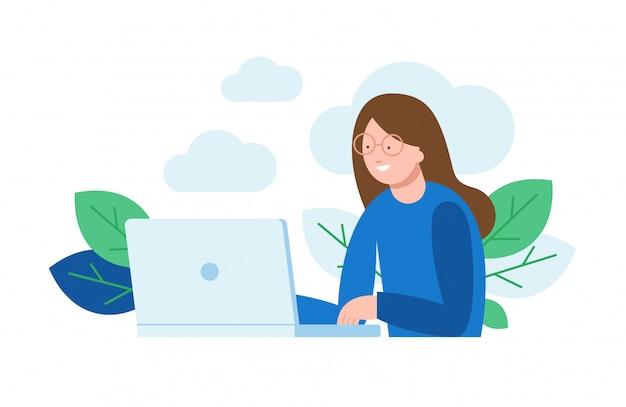Vector l'illustrazione di una donna che si siede davanti al computer e che lavora ad un progetto, cercando, chiacchierando.