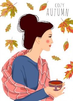Illustrazione vettoriale di donna con una tazza di tè e foglie che cadono su uno sfondo bianco