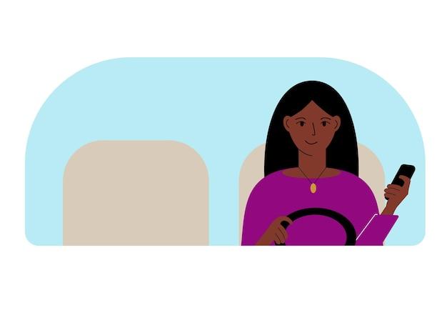 L'illustrazione vettoriale di una donna con una mano controlla un'auto e un telefono cellulare nell'altra