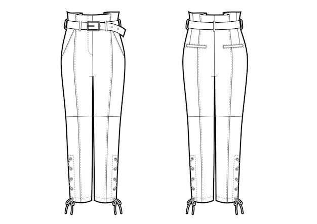 Illustrazione vettoriale di pantaloni in pelle da motociclista da donna. viste anteriore e posteriore