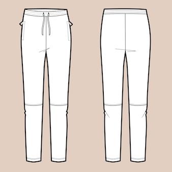 Illustrazione vettoriale di pantaloni sportivi da donna. davanti e dietro. modello vettoriale