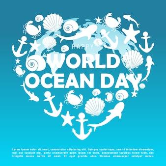 Illustrazione vettoriale della giornata mondiale degli oceani.