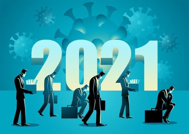 Illustrazione vettoriale del simbolo dell'anno 2021 con uomini d'affari hanno perso il lavoro a causa del coronavirus covid-19