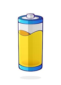 Illustrazione vettoriale colore giallo dello stato energetico dell'accumulatore del dispositivo elettrico