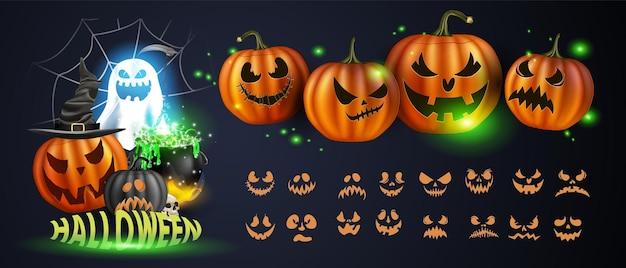 Illustrazione vettoriale. zucche gialle per halloween. espressioni facciali jack-o-lantern. persone horror su sfondo scuro
