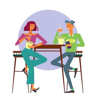 Illustrazione vettoriale. coppia giovane utilizzando la consegna di cibo, mangiare cibo wok