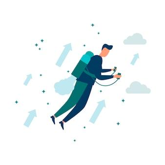 Illustrazione vettoriale alzare la motivazione per raggiungere l'obiettivoconcetto di raggiungere un obiettivo su un jet pack